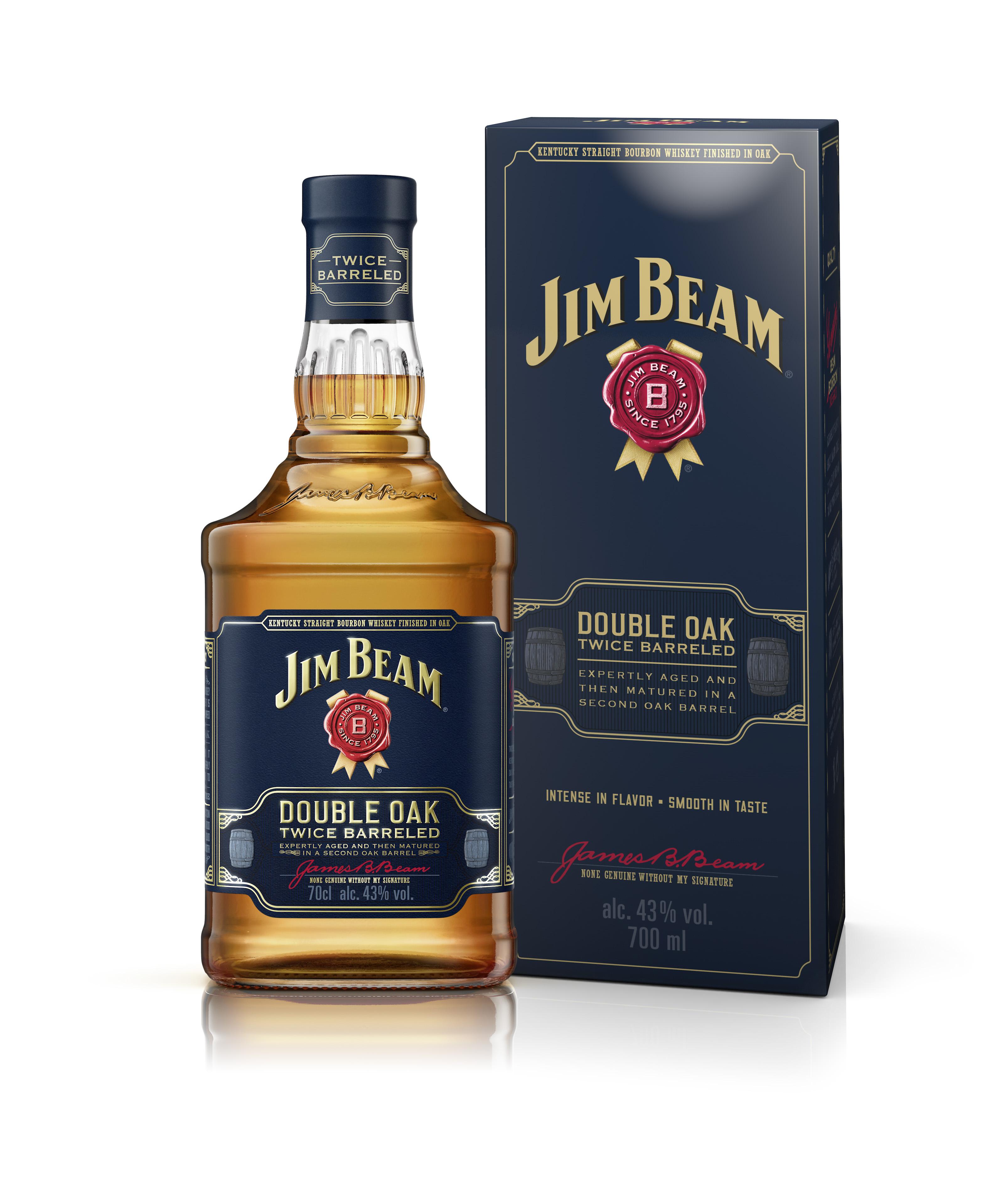 Der Kentucky Straight Bourbon Whiskey Jim Beam Double Oak ist zweifach in neu ausgeflammten amerikanischen Eichenfässern gereift und besticht durch seine außergewöhnliche Geschmackstiefe.