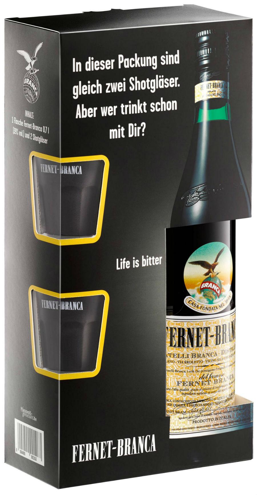 """Fernet-Branca """"Life is bitter""""- Geschenkset mit neu designten Shotgläsern"""
