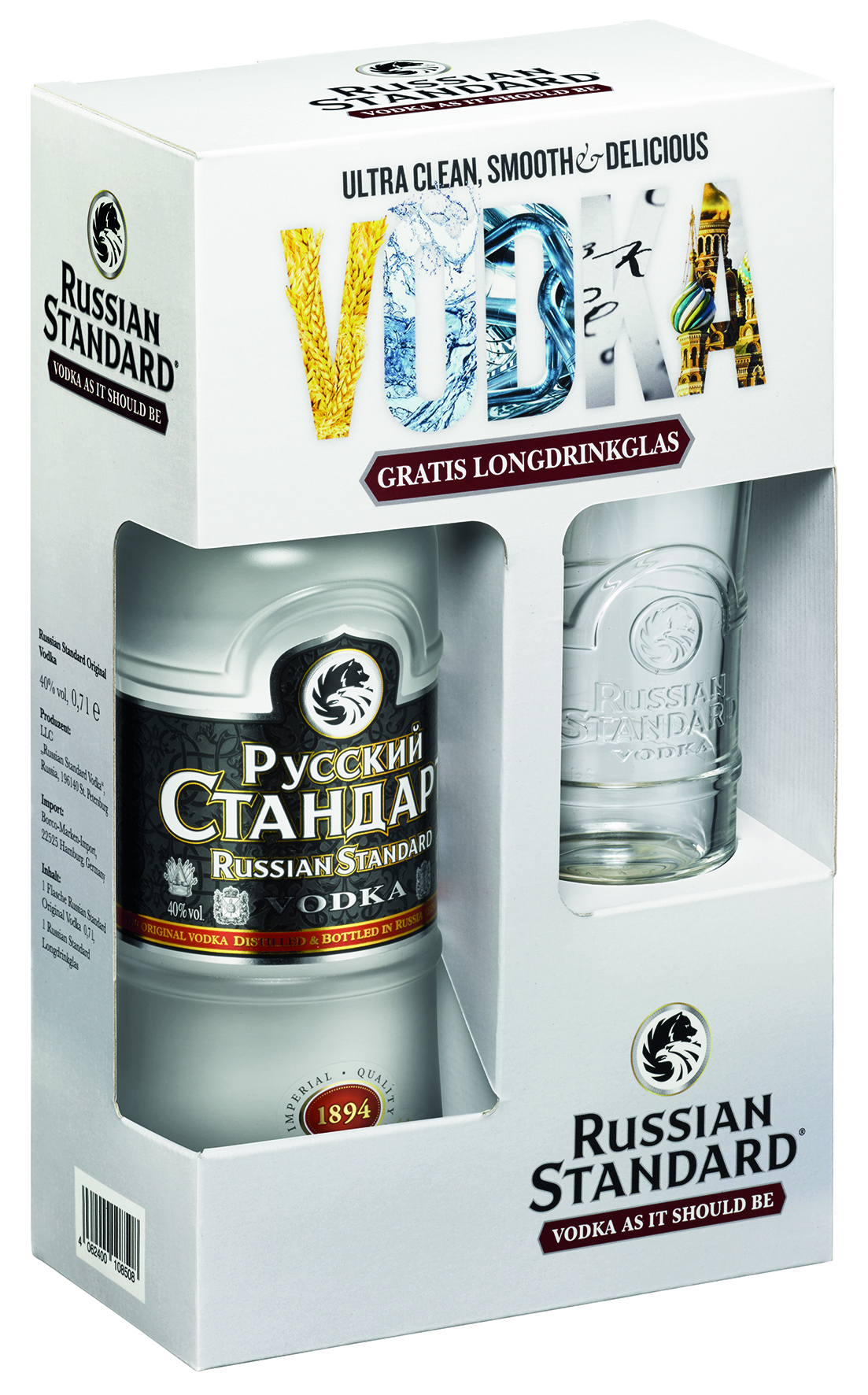 Russian Standard Vodka: Geschenkverpackung mit Longdrinkglas