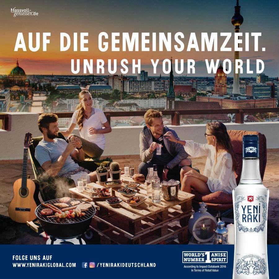 """Yeni Rakı setzt mit neuem """"Unrush your World"""" OOH-Motiv auf die Grillsaison"""