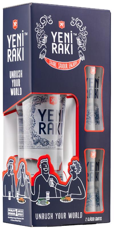 Yeni Rakı in neu gestaltetem Geschenkset mit zwei Designgläsern