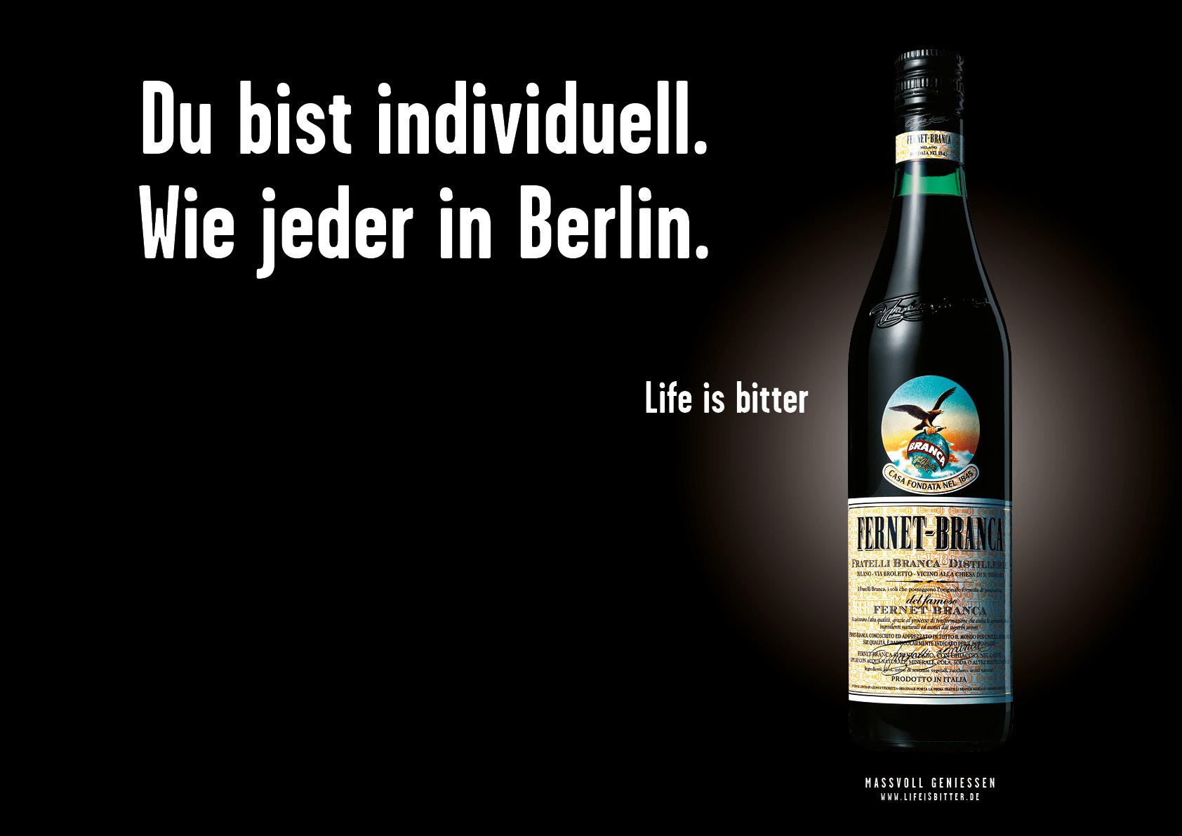 """Fernet-Branca """"Life is bitter"""": Kampagnenmotiv Berlin"""