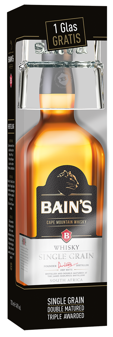 Bain's Cape Mountain Whisky: Geschenkverpackung inklusive Glaszugabe