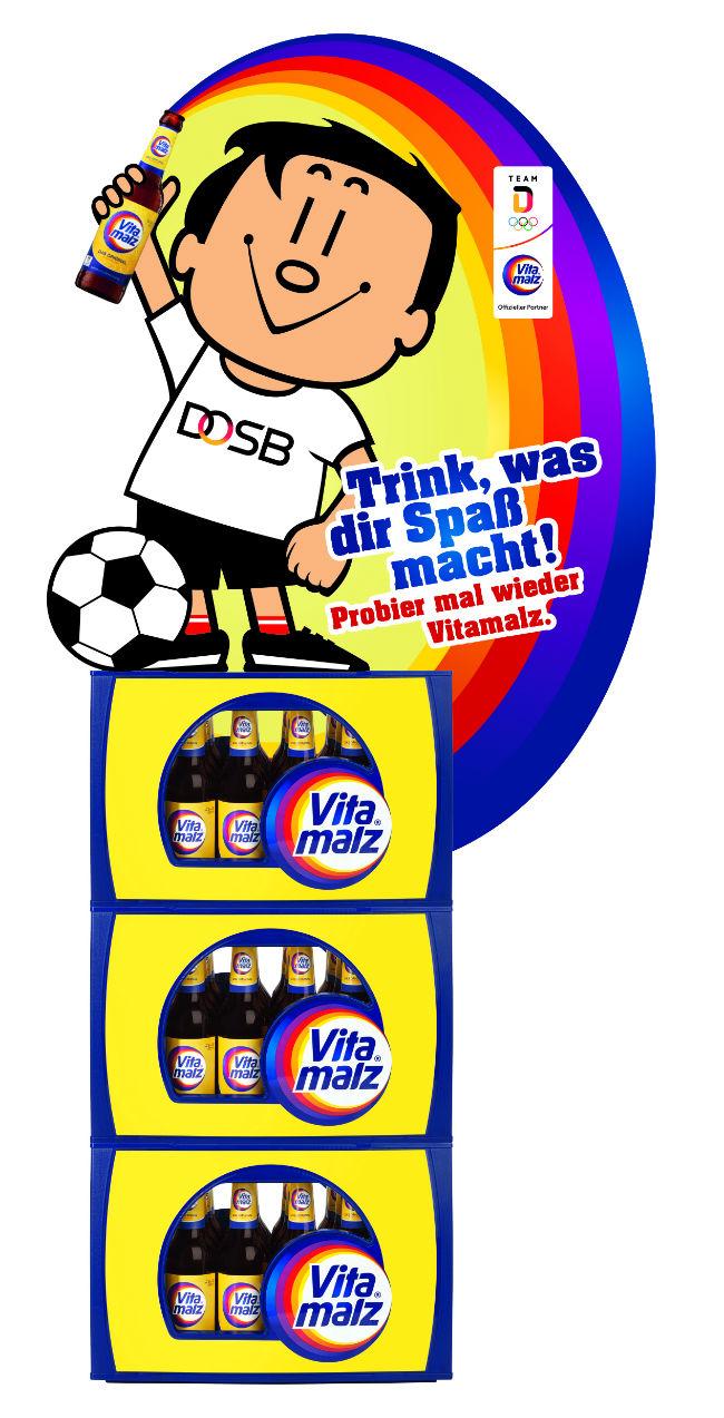 Auf eine erfolgreiche Partnerschaft: Vitamalz und Trimmy erfrischen den Sport