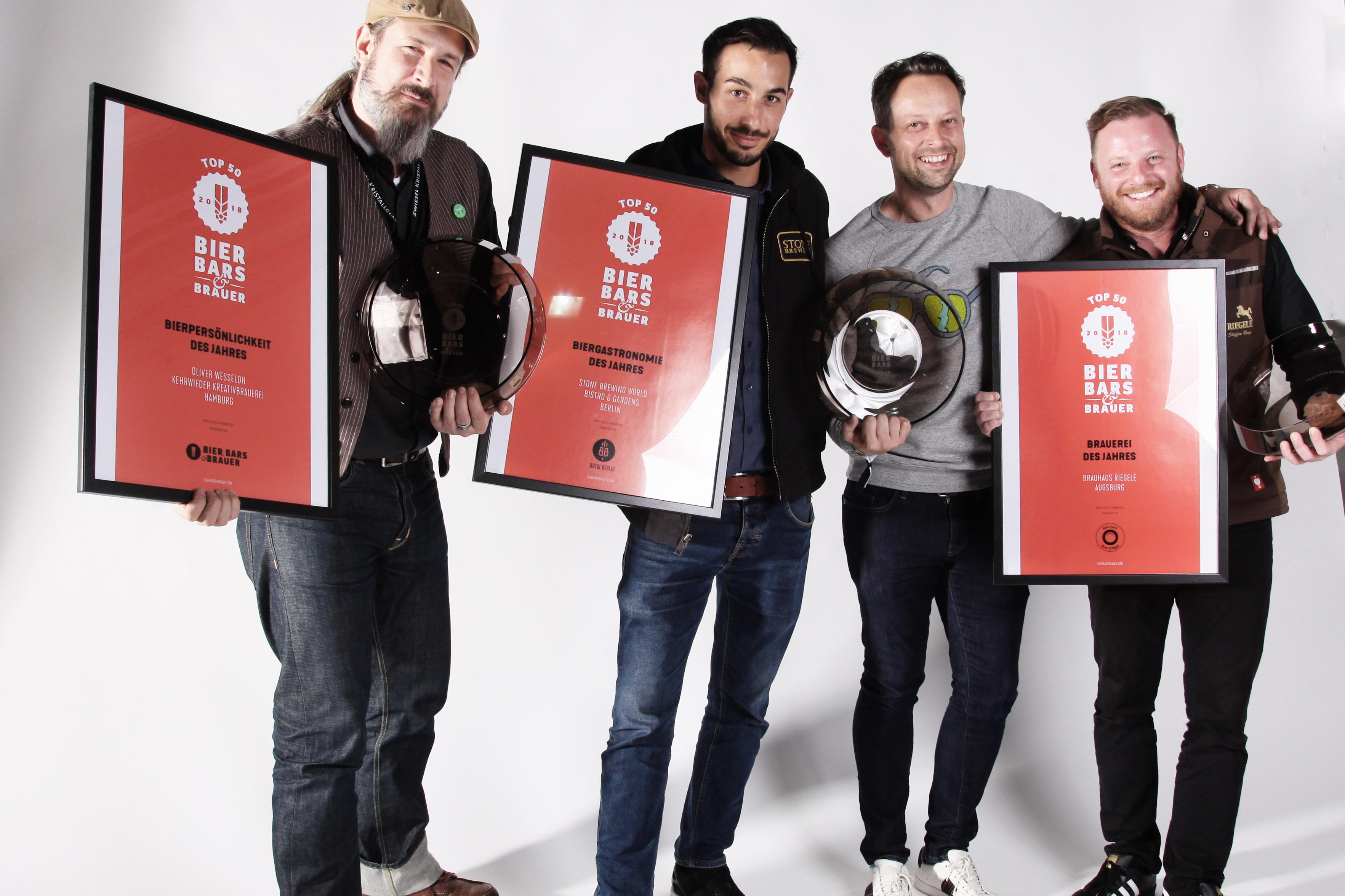 BIER, BARS & BRAUER Top 50 Awards: Brauhaus Riegele zur Brauerei des Jahres 2018 gewählt!