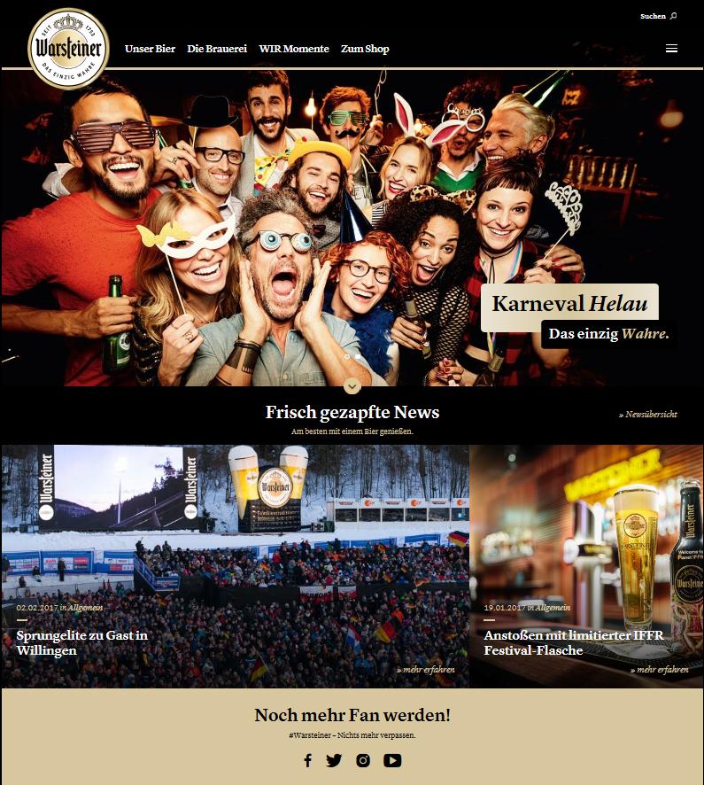 Warsteiner mit neuer Markenwebseite